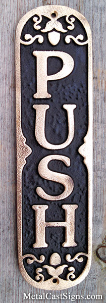 PUSH door sign - cast bronze
