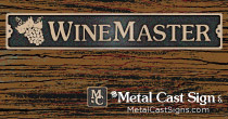 Wine Master cast bronze sign